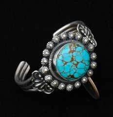 Petite size Navajo Sterling cuff with Kingman turquoise by Leon Martinez.—SALE PENDING