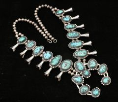 Vintage Navajo Sterling squash-blossom necklace with 20 pristine turquoise stones.—SOLD!