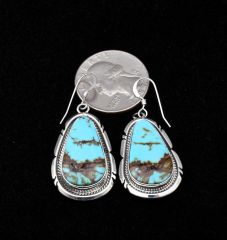 Sterling Navajo earrings with near-bookend match Kingman, Arizona turquoise, by Elouise Kee.