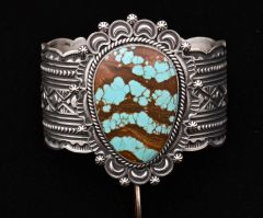 Navajo Sterling cuff with intricate hand-stamping and unusual No. 8 Mine turquoise, by Harold Joe.