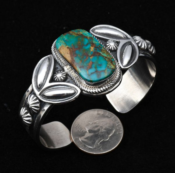 Thicker-gauge Sterling Navajo cuff with single Nevada Blue turquoise stone, by Leon Martinez
