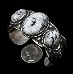 Thicker-gauge Navajo Sterling triplet cuff with white buffalo stones, by Gilbert Tom.