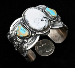 Navajo heavy-silver, scalloped-edge triplet cuff with white buffalo and Royston, Nevada turquoise, by Gilbert Tom.