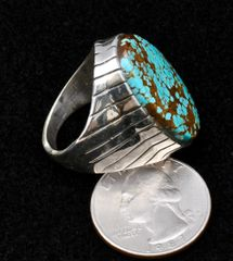Size 10 heavy-silver Navajo ring with No. 8 Mine turquoise.—SOLD!