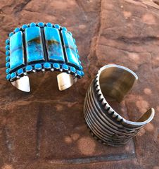 Sterling Navajo cluster cuff with four large rectangular Kingman turquoise stones (left cuff in pic).