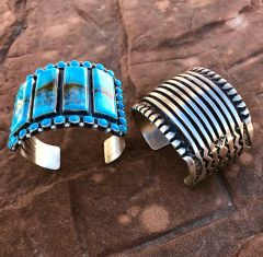 Substantial Navajo heavy-silver cuff with deep hand-stamping (right side of pic).