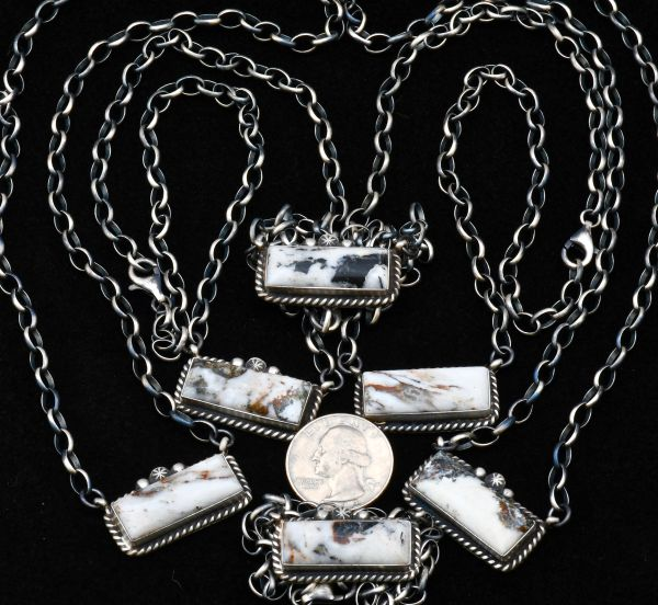 Medium-size Navajo Sterling bar necklace(s) with hand-picked White Buffalo stones (price is per each).
