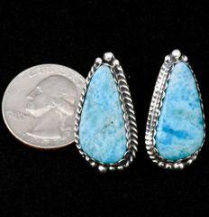 Navajo Sterling post earrings with Larimar stones, by Elouise Kee.