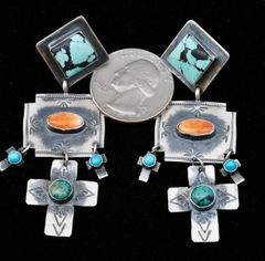 Five-piece Sterling Navajo cross earrings with spiney oyster and turquoise.