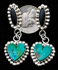 SOLD! Two-piece Sterling Navajo earrings with turquoise and black onyx.—SOLD!