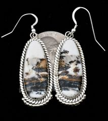 Navajo Sterling hanger earrings with super-premium White Buffalo Stones.—SOLD!