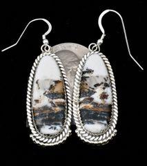 Navajo Sterling hanger earrings with super-premium White Buffalo Stones.