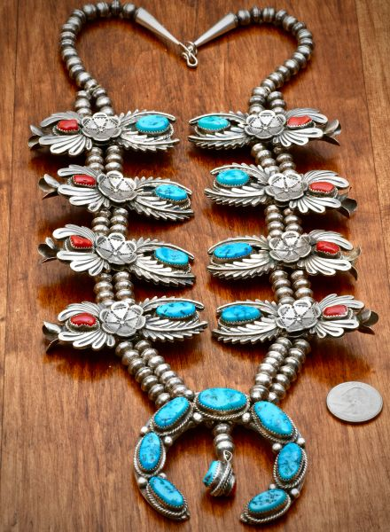 Sterling silver dead-pawn Navajo squash blossom necklace with Turquoise and Coral