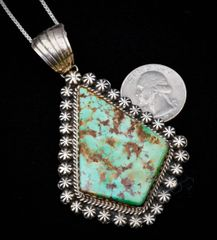 Medium-large Navajo Sterling pendant with Royston turquoise, by Gilbert Tom.