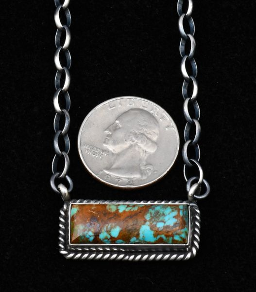 Medium-size Navajo Sterling bar necklace and chain, by Augustine Largo.