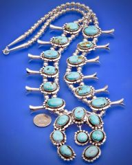 Navajo squash blossom necklace with Kingman mine turquoise, by Augustine Largo.