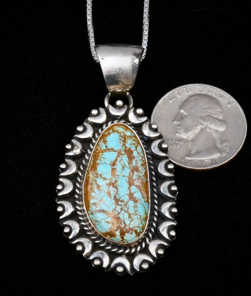 Smaller size Navajo Sterling pendant with Kingman, Arizona turquoise.