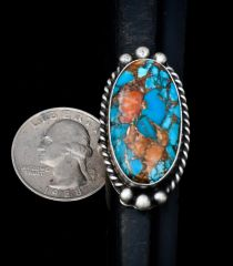 Size 8 Navajo Sterling ring with spiney oyster; turquoise and bronze.