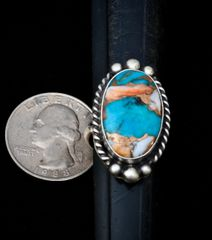 Size 7.5 Navajo Sterling ring with spiney oyster; turquoise and bronze.