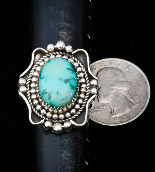 Size 10 Navajo Sterling ring with fancy silver work and Royston, Nevada turquoise.