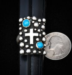Navajo Sterling silver and turquoise adjustable ring.