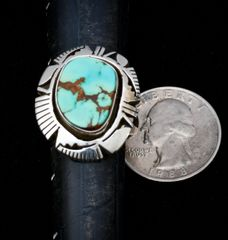 Size 9 Navajo Sterling ring with Royston, Nevada turquoise.