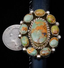 Size 6.25 Sterling Navajo 10-stone cluster ring.
