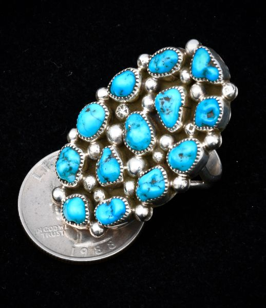 Size 8.25 Sterling Navajo 13-stone cluster ring with Sleeping Beauty mine turquoise.