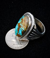 Size 9.5 dead-pawn Sterling Navajo heavy-silver ring with Kingman, Arizona turquoise.—SOLD!