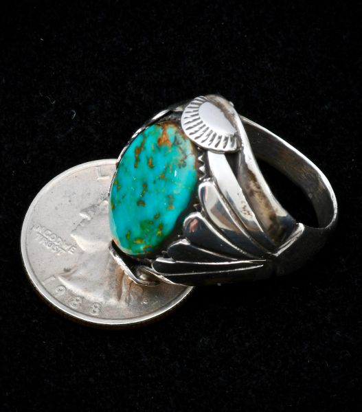 Size 10.5 Sterling Navajo dead-pawn turquoise ring.