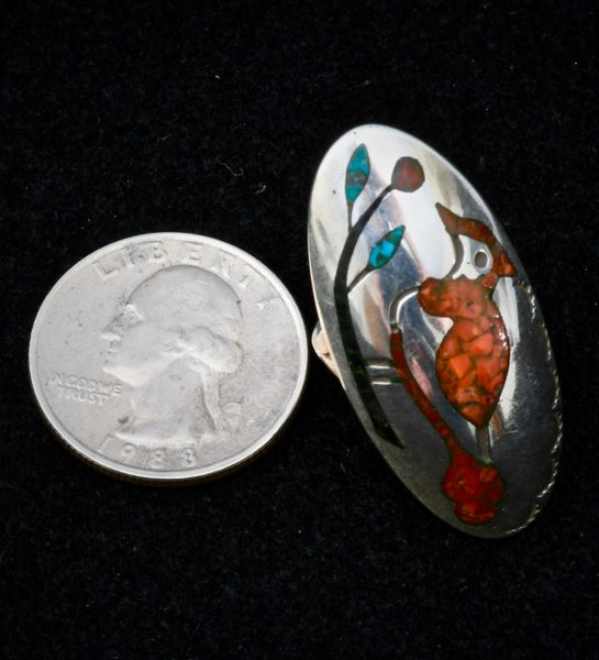 Size 6 Sterling Zuni Pueblo dead-pawn chipped-inlay ring with red cardinal design.—SOLD!