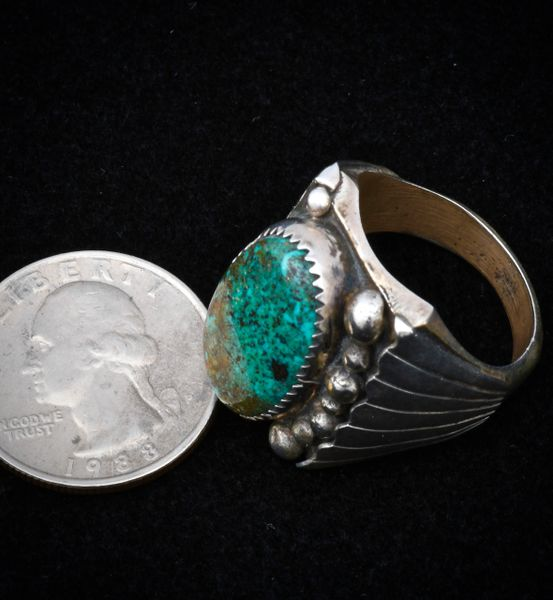 Size 10.75 Sterling dead-pawn heavy silver Navajo turquoise ring.