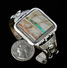 Sterling Navajo cuff with ribbon (boulder) turquoise, by Robert Shakey.