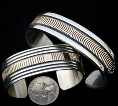 Navajo lady's Sterling silver and 14kt. gold cuff by Bruce Morgan.