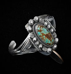 Smaller wrist size Sterling Navajo cuff with Royston, Nevada turquoise.