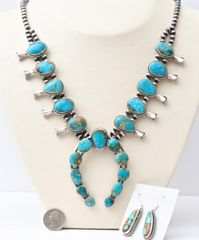 Sterling Navajo squash blossom and matching earrings made with burnished patina Navajo pearls and Kingman turquoise, by Augustine Largo.