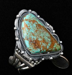 Sterling Navajo cuff with large Royston, Nevada turquoise stone.