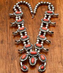 Vintage Navajo red-coral squash-blossom necklace.