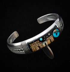 Sterling dead-pawn inlaid cuff with night-time pueblo scene.