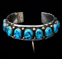 Sterling Navajo dead-pawn cuff with 13 Sleeping Beauty turquoise stones.