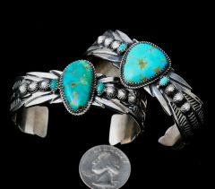 Sterling Navajo cuff with greenish Royston, Nevada turquoise.