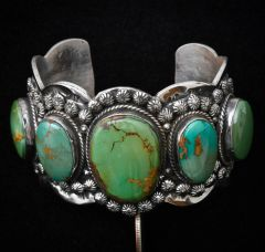 Five-stone Sterling Navajo cuff with Royston, Nevada turquoise.