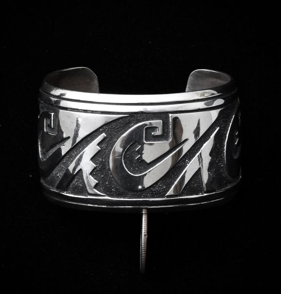 Signed, original Tommy Singer Sterling double-overlay medium/large-size cuff.—SOLD!