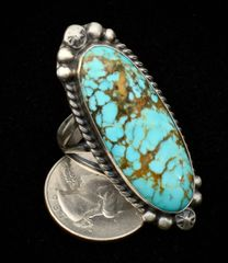 Size 10.5 Sterling Navajo ring with beautiful Kingman turquoise.