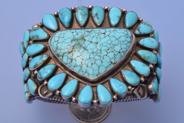 Large old-pawn Navajo pedi-point large cluster cuff.
