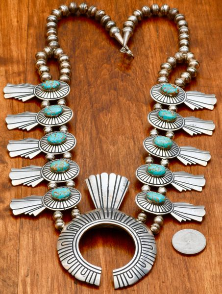 Vintage, signed, original Tommy Singer Navajo squash blossom necklace with No. 8 Mine turquoise.—SOLD!