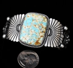 Sterling Navajo cuff with blotch ribbon (boulder) turquoise.