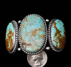 Sterling Navajo triplet cuff with premium Nevada turquoise.
