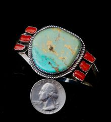 Sterling Navajo cuff with Royston turquoise and Mediterranean red coral.