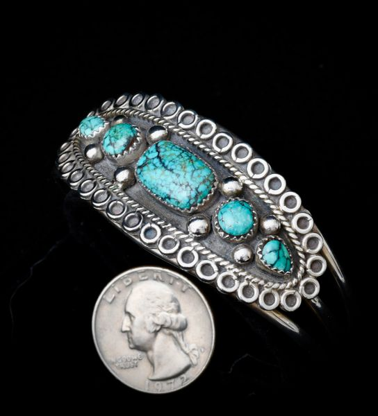 Dead-pawn Navajo Sterling cuff with five turquoise stones.—SOLD!
